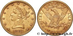INVESTMENT GOLD 10 Dollars or  Liberty  1881 Philadelphie