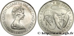 JERSEY 2 Pounds 50 Pence noces d'argent 1972