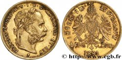INVESTMENT GOLD 20 Francs or ou 8 Forint François-Joseph Ier 1891 Kremnitz