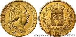 40 francs or Louis XVIII 1824 Paris F.542/16 MBC