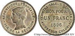RIUNIONE - Terza Repubblica Essai de 1 franc en Maillechort 1896 Paris EF
