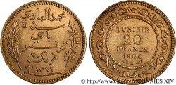 TUNISIE - PROTECTORAT FRANÇAIS - MOHAMED EN-NACEUR BEY 20 Francs or AH 1321 = 1904 Paris XF