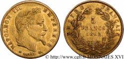 5 francs or Napoléon III, tête laurée 1862 Strasbourg F.502/2 TTB