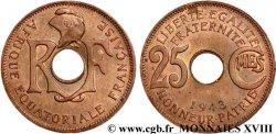 AFRIQUE ÉQUATORIALE FRANÇAISE 25 centimes AEF 1943 Prétoria EBC