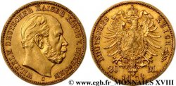 GERMANY - KINGDOM OF PRUSSIA - WILLIAM I 20 marks or, 1er type 1873 Clèves