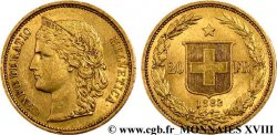SWITZERLAND - HELVETIC CONFEDERATION 20 francs or 1883 Berne