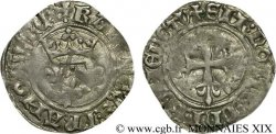CHARLES, REGENCY - COINAGE WITH THE NAME OF CHARLES VI Gros dit  florette  1419 Angers