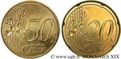 EUROPEAN CENTRAL BANK 20/50 centimes d'euro, frappe fautée n.d.