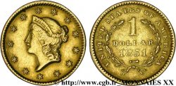 UNITED STATES OF AMERICA 1 dollar Or  Liberty head  1er type 1849-1854 1851 Philadelphie