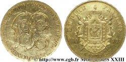 TROISIÈME RÉPUBLIQUE Médaille de mariage gravée sur une 100 francs or Napoléon III tête nue
