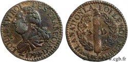 LOUIS XVI 3 deniers dit au faisceau, type FRANÇOIS 1792 Lyon ou Roanne