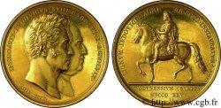 CARLO X Ensemble de trois médailles en argent doré, argent et bronze, rétablissement de la statue équestre de Louis XIV à Lyon