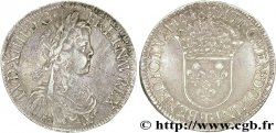 LOUIS XIV THE SUN KING Écu à la mèche longue 1648 Nantes