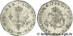 LOUIS XV THE WELL-BELOVED Double sol de billon 1744 Paris AU