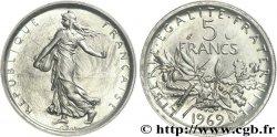 Pré-série de 5 francs Semeuse, légère, sans pochette 1969 Paris G.771 UNC