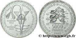 WEST AFRICAN STATES (BCEAO) Essai 5000 Francs masque / oiseau 20e anniversaire de l'Union Monétaire 1982 Paris UNC