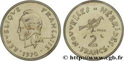NEW HEBRIDES (VANUATU since 1980) Essai de 2 Francs Marianne / oiseau 1970 Paris UNC