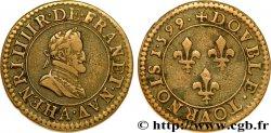 HENRY IV Double tournois, type 2, légende fautée (1.599) 1599 Paris, Moulin des Étuves