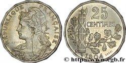Essai de 25 centimes Patey, 2e type, tranche à 16 pans 1904 Paris VG.4523 FDC