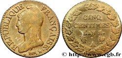 Cinq centimes Dupré, grand module 1800 Paris/Strasbourg F.115/46 BC