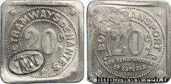COMPAGNIE DES TRAMWAYS DE NANTES 20 Centimes
