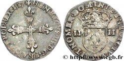 HENRI III Quart décu, croix de face 1587 Paris