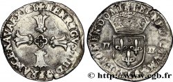 HENRI IV LE GRAND Quart décu, croix feuillue de face 1608 Bayonne
