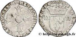 HENRI IV LE GRAND Quart décu, croix feuillue de face 1605 Angers