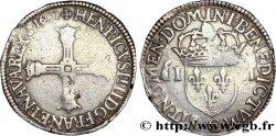 HENRI IV LE GRAND Quart décu, croix bâtonnée et couronnée de face 1602 Saint-Lô