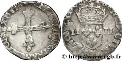 HENRI III Quart décu, croix de face 1581 Rennes