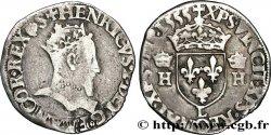HENRI II Demi-teston à la tête couronnée 1555 Bayonne
