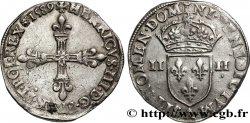 HENRI III Quart décu, croix de face 1589 Paris