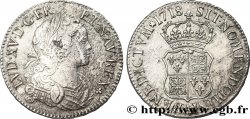 LOUIS XV THE WELL-BELOVED Écu de Navarre 1718 Paris BC+/MBC