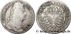LOUIS XIV THE SUN KING Demi-écu aux trois couronnes 1710 Paris