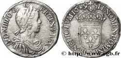 LOUIS XIV THE SUN KING Demi-écu à la mèche longue 1649 Rennes