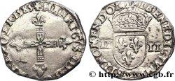 HENRI III Quart décu, croix de face 1585 Bayonne