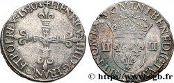 HENRY III Quart décu, croix de face 1580 La Rochelle