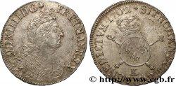 LOUIS XIV THE SUN KING Demi-écu aux insignes 1702 Bordeaux VF