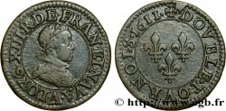 LOUIS XIII LE JUSTE Double tournois, type 1 1611 Paris, Moulin du Louvre TTB/TTB+
