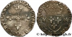 HENRI III Quart décu, croix de face 1587 Rennes TTB