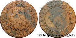 LOUIS XIII LE JUSTE Double tournois, type 6 de Paris 1629 Paris
