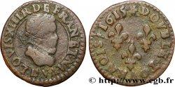 LOUIS XIII Double tournois au petit buste enfantin col plat, de Lyon 1615 Lyon