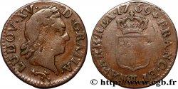 LOUIS XV THE WELL-BELOVED Liard dit à la vieille tête 1769 Besançon
