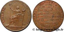 REVOLUTION COINAGE Monneron de 2 sols à la Liberté 1791 Birmingham, Soho MBC