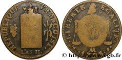 THE CONVENTION 2 sols dit à la table de loi 1793 Metz F