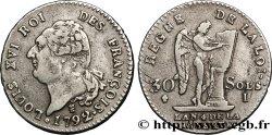LOUIS XVI 30 sols dit au génie, type FRANÇOIS 1792 Limoges BB