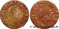 LOUIS XIII LE JUSTE Double tournois, type 9 1637 Tours