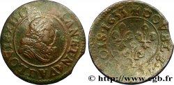 LOUIS XIII LE JUSTE Double tournois, type 8 1633 Lyon