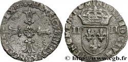 HENRY IV Quart décu, croix feuillue de face 1606 Angers VF