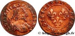LOUIS XIII Double tournois au grand buste viril drapé 1639 Vallée du Rhône VF/VF